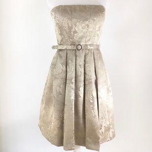Eliza J  gold strapless dress